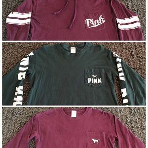 3 VS Pink Long Sleeve Varsity Shirts